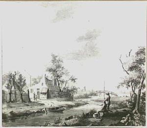 Landschap met boerderij  en twee hengelaars bij een sloot