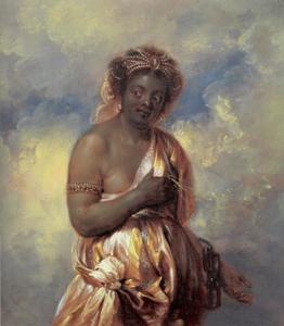 Staande zwarte vrouw als de personificatie van het continent Afrika