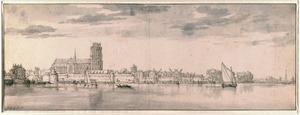 Gezicht op Dordrecht aan de Oude Maas, gezien vanuit het noorden