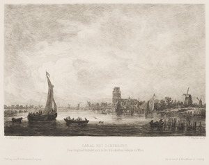 Rivierlandschap met gezicht op Dordrecht