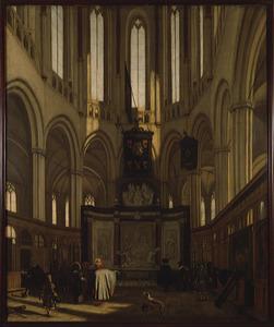Het koor van de Nieuwe Kerk te Amsterdam met het praalgraf van Michiel de Ruyter