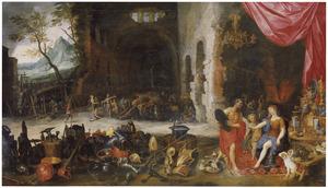 Allegorie van het vuur: Venus ontvangt in de smidse van Vulcanus de wapens van Aeneas