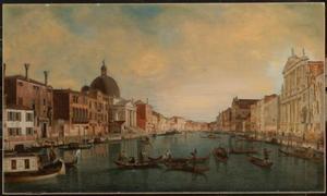 Gezicht op het Canal Grande in Venetië met links de San Simeone Piccolo en rechts de Scalzi