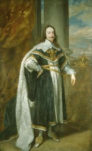 Portret van Karel I van Engeland, staande ten voeten getooid met de eretekens behorend bij de Orde van de Kousenband