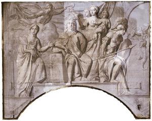 Het goede bestuur van Nijenburg omringd door allegorische figuren van Voorzichtigheid, Rechtvaardigheid, Liefde en Wijsheid