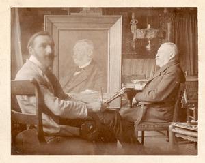 Leo Gestel in zijn atelier met een mannelijk model en het portret
