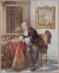 Briefschrijvende heer in interieur