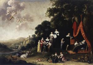 Familieportret van Godard van Reede van Nederhorst (1588-1648), Emerentia Oem van Wijngaarden (1578-1632), Catharina van Utenhove (1591-1656) en hun kinderen