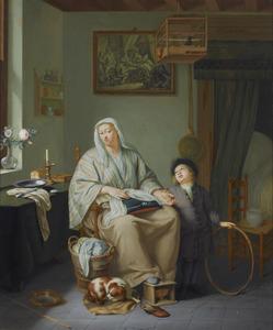 Interieur met een vrouw en een kind