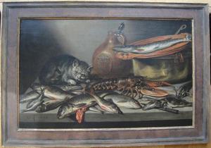 Stilleven met poes, kreeft en verschillende soorten vis