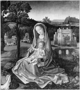 Maria met kind in een landschap