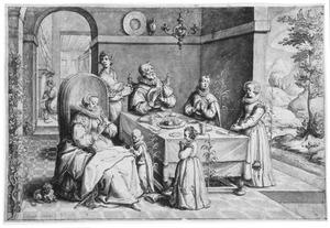 Biddend gezin bij de maaltijd (psalm 128)