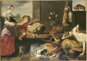 Keukenstuk met dienstmeid en jongetje, honden en een kat