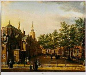 Kerkplein in Den Haag met de Grote of Sint-Jacobskerk