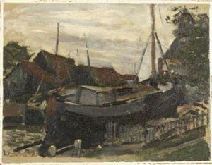 Drydock at Durgerdam, oil sketch