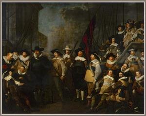 Officieren en andere schutters van wijk V in Amsterdam onder leiding van kapitein Cornelis de Graeff en luitenant Hendrick Lauwrensz.