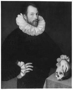 Portret van een man met een doodshoofd