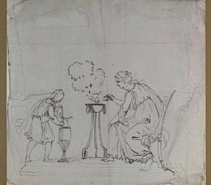 Offerende vrouw en jongeling bij een wierookvat