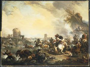 Een ruitergevecht nabij een ingestorte brug tussen christenen en saracenen