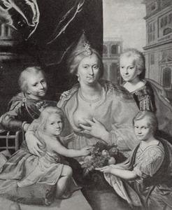 Familieportret van Sophia Hedwig von Braunschweig-Wolfenbüttel (1592-1642) en haar kinderen Hendrik Casimir, Willem Frederik, Maurits en Elisabeth, als Caritas