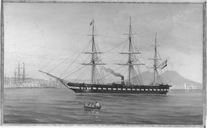 Het fregat met stoomvermogen Zr. Ms. 'Adolf, Hertog van Nassau' op een rede in de Middellandse zee