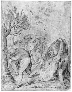 Figuren verschrikt door de val van Phaeton (Metamorfosen 2:150-327)