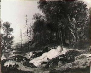 Diana rustend in een landschap
