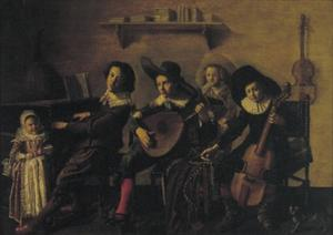 Musicerende kinderen in een interieur