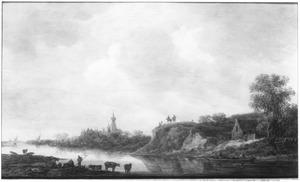 Heuvelachtig rivierlandschap met huizen en een kasteel (Doorwerth?)