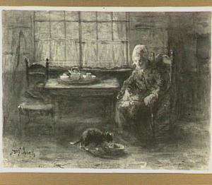 Interieur met een oude vrouw en een kat