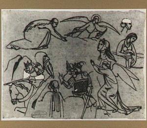 Ridders te paard, engelen, Maria Magdalena en andere figuren