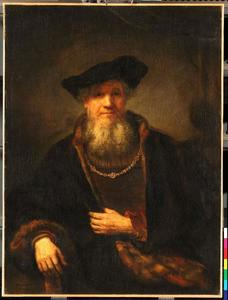Zittende man met baard en baret