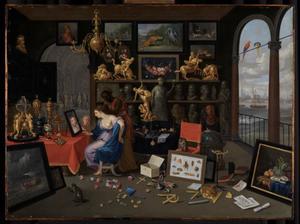 Kunstkamer met een vrouw voor een spiegel: allegorie op het Gezicht