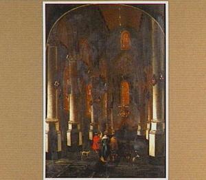 Kerkinterieur met elegant gezelschap
