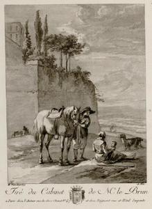 Rustende reizigers bij een stadsmuur