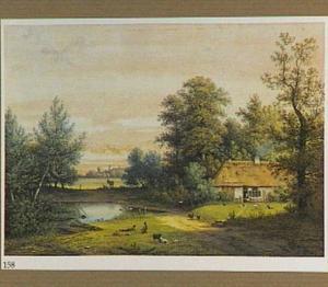 Landschap met boerderij bij een vijver
