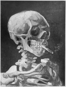 Een skelet met een sigaret