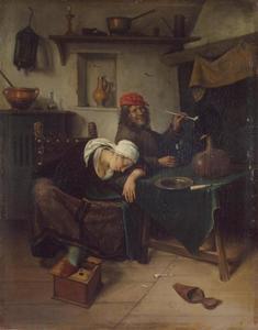 Rokende man en slapende vrouw in interieur