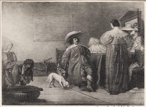 Elegant pratend en drinkend gezelschap in een interieur