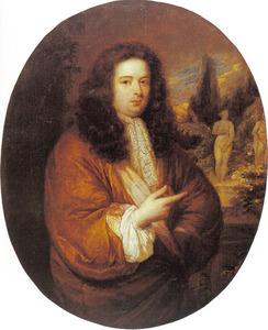 Portret van een jonge man met beelden in achtergrond
