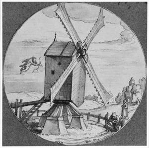 Cupido en verliefd paar bij een windmolen