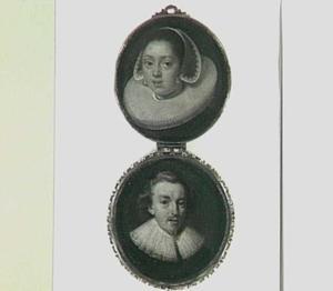 Portretminiatuur van een man en een vrouw in een zilveren doosje ten onrechte genaamd: Hugo de Groot en zijn vrouw Maria van Reigersberg