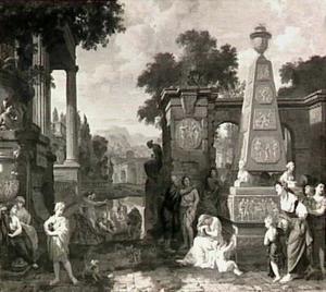 Scène op een antiek kerkhof