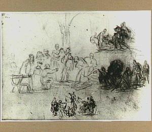 Vier compositieschetsen: de ongelovige Thomas (links), de aanbidding van de Koningen (rechts), de opwekking van Lazarus (onder)