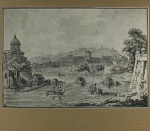 Rome, de Tiber bij de overblijfselen van de Pons Triumphalis, met links San Giovanni dei Fiorentini, in het midden Sant'Onofrio en het Palazzo Salviati