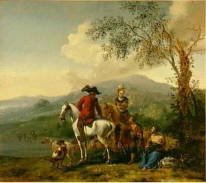 Berglandschap met ruiters en herders