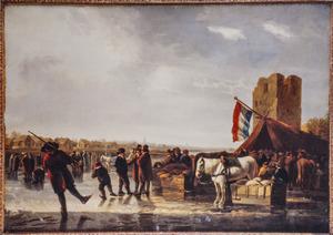 Schaatsers op de Maas bij het Huis te Merwede