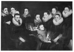 Portret van echtpaar met acht kinderen