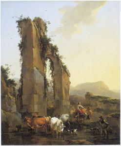 Zuidelijk landschap met herders en vee bij een ruïne