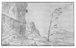 Berglandschap met hangbrug